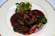 Beef (cheek) cooked in red wine with mashed potatoes